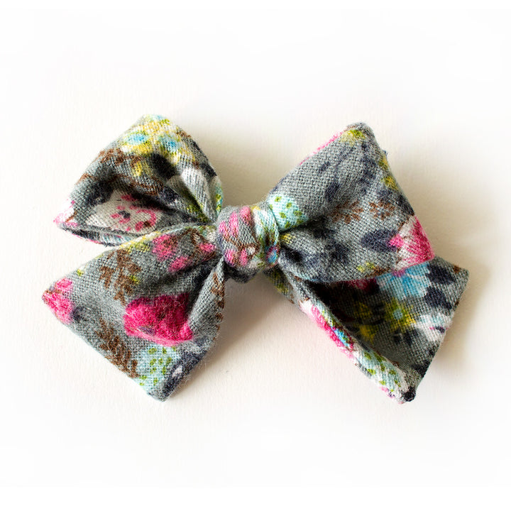 grey and pink hair bow for girls on clip or band