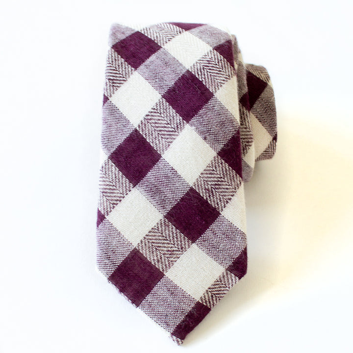 Plum Gingham Men's Tie