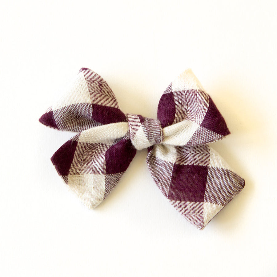 Plum Gingham Hair Bow for Girls