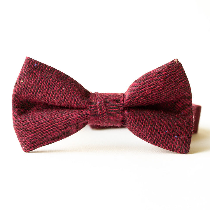 Black Cherry Linen Bow Tie for Boys