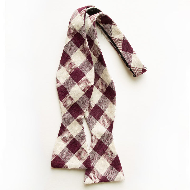 Plum Gingham Bow Tie for Men
