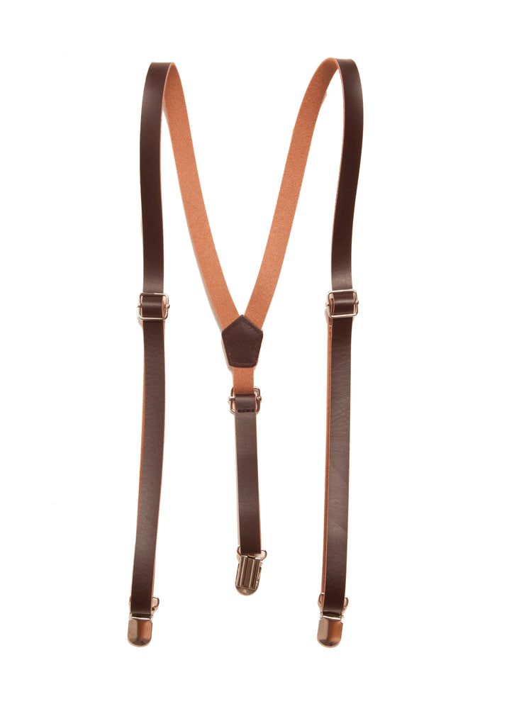 Leather Suspenders (PU) in Chocolate Brown