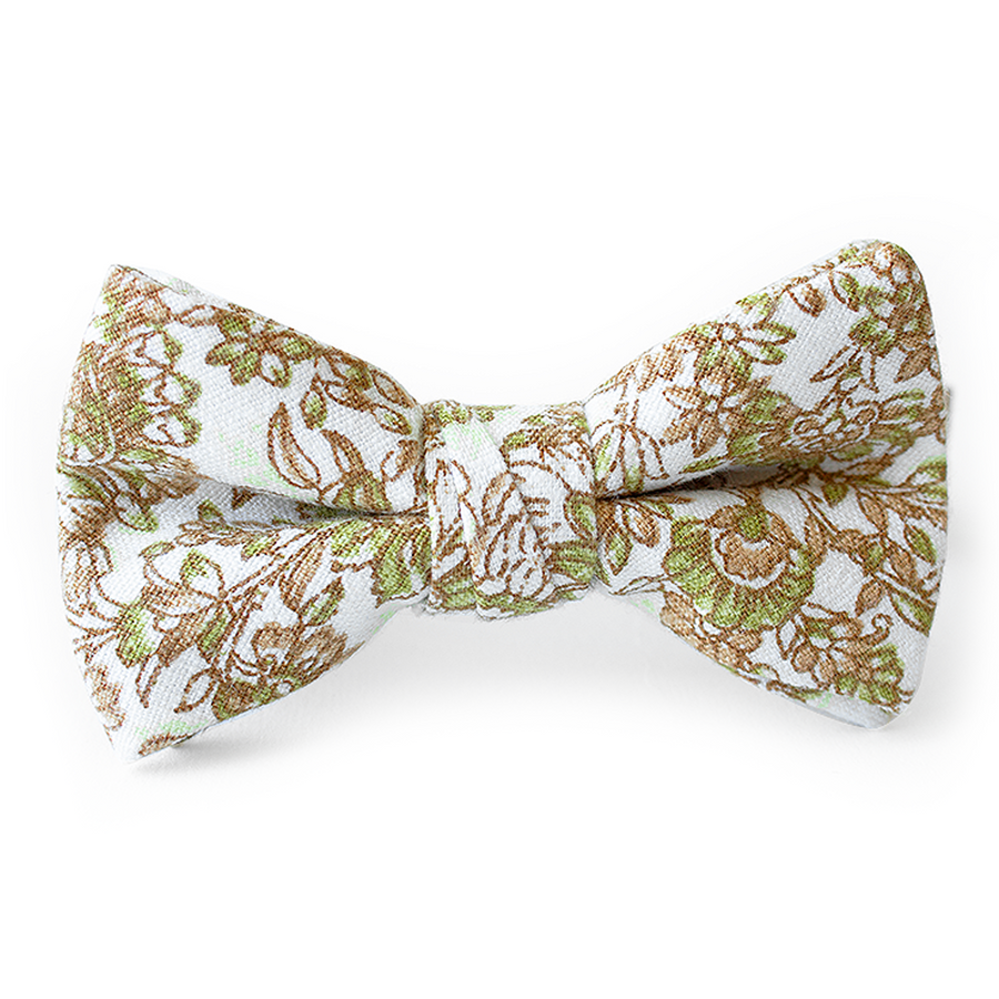Citron Floral Bow Tie for Boys