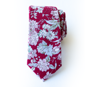Crimson Floral Men's Tie