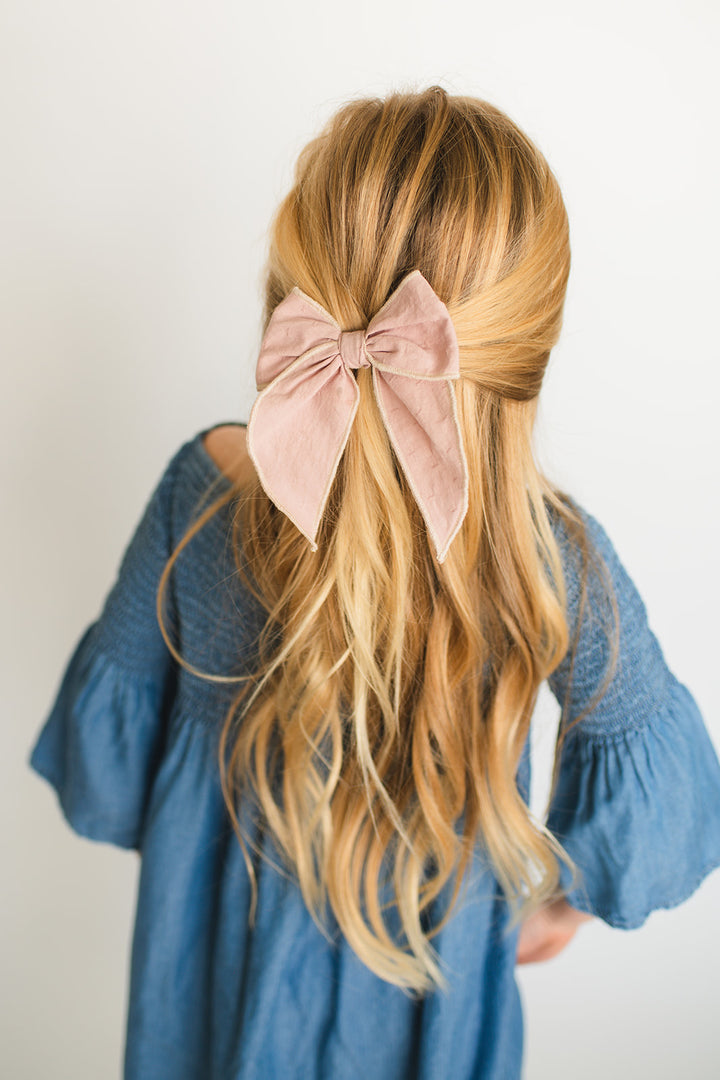 Dusty Rose Hair Bow for Girls - Large