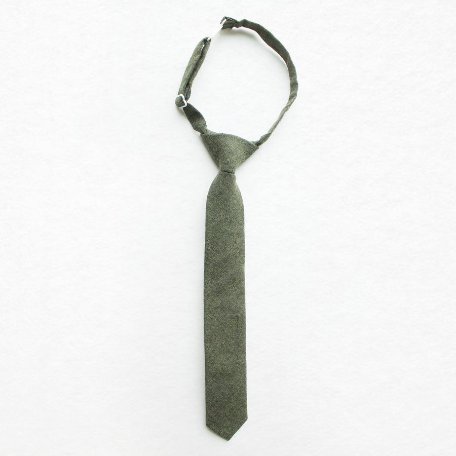 Forest Green Linen Boys Tie