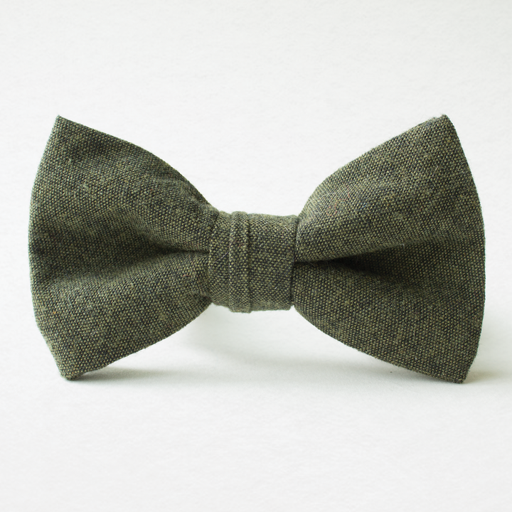 Forest Green Linen Bow Tie for Boys