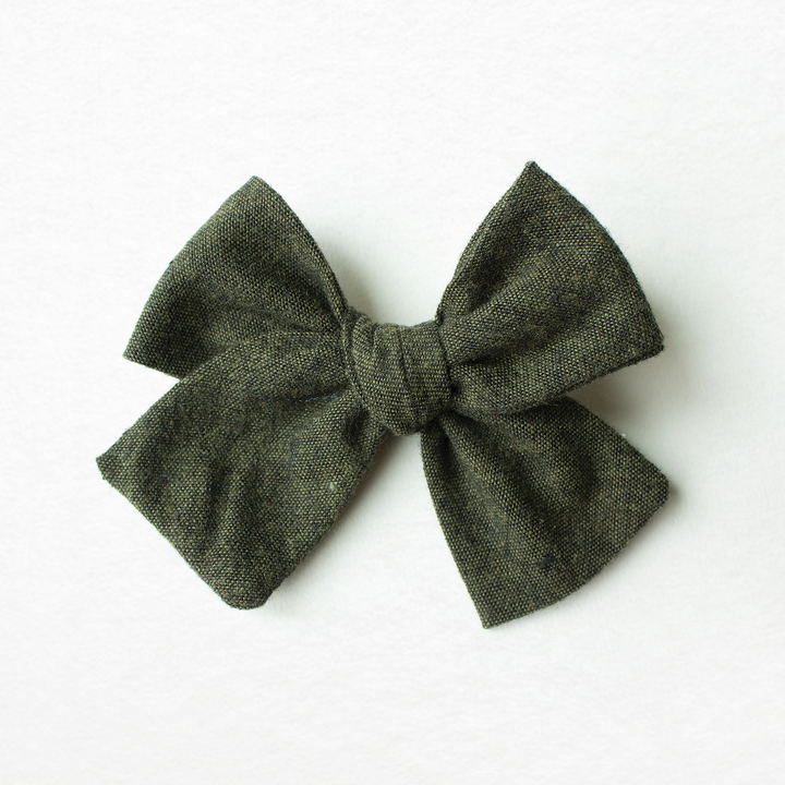 Forest Green Linen Hair Bow for Girls