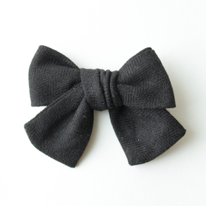 Men in Black Linen Hair Bow for Girls