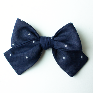 Navy Dot Hair Bow for Girls