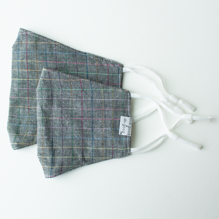 Adjustable Face Mask - Youth and Adult sizes - Park City Plaid & Gray