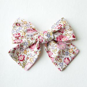 Purdy Pink Floral Hair Bow for Girls