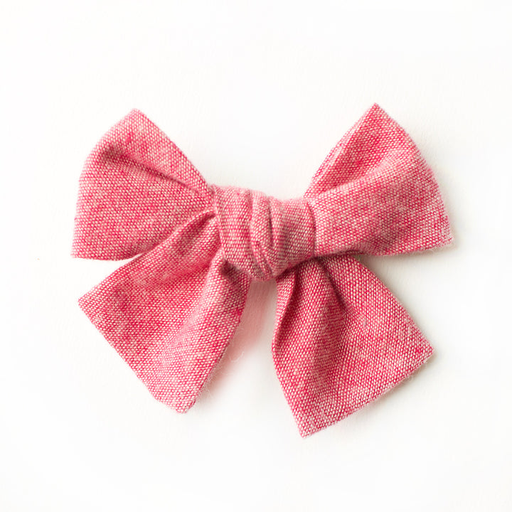 Red Chambray Hair Bow for Girls