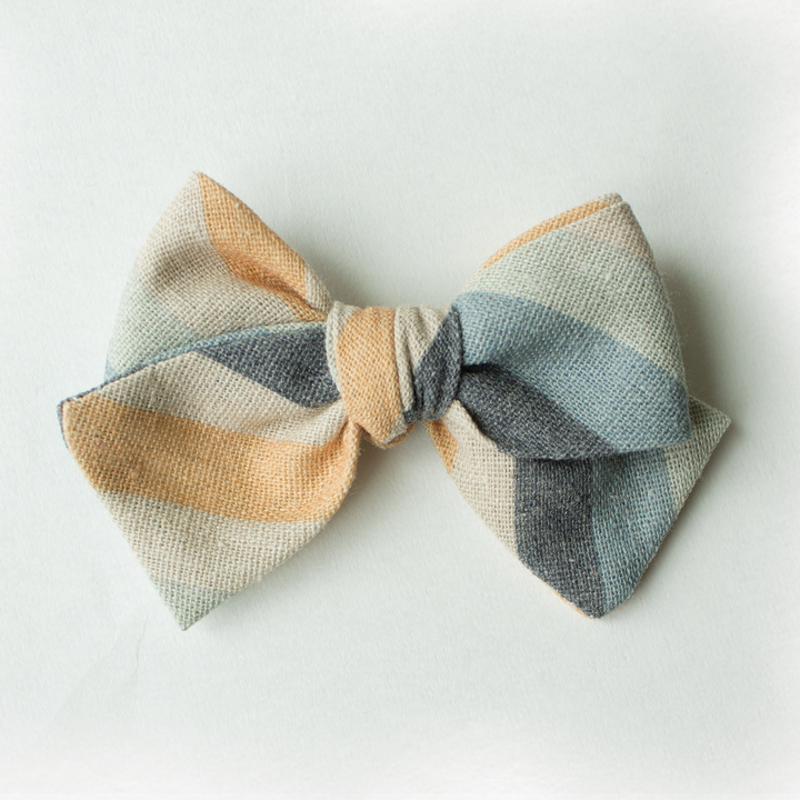 Sandy Stripe Hair Bow for Girls