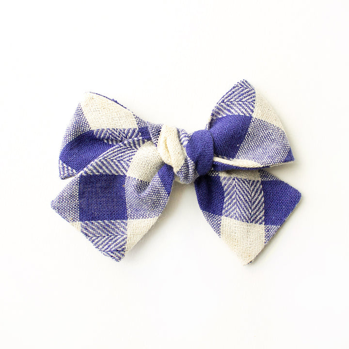 Sapphire Gingham Hair Bow for Girls