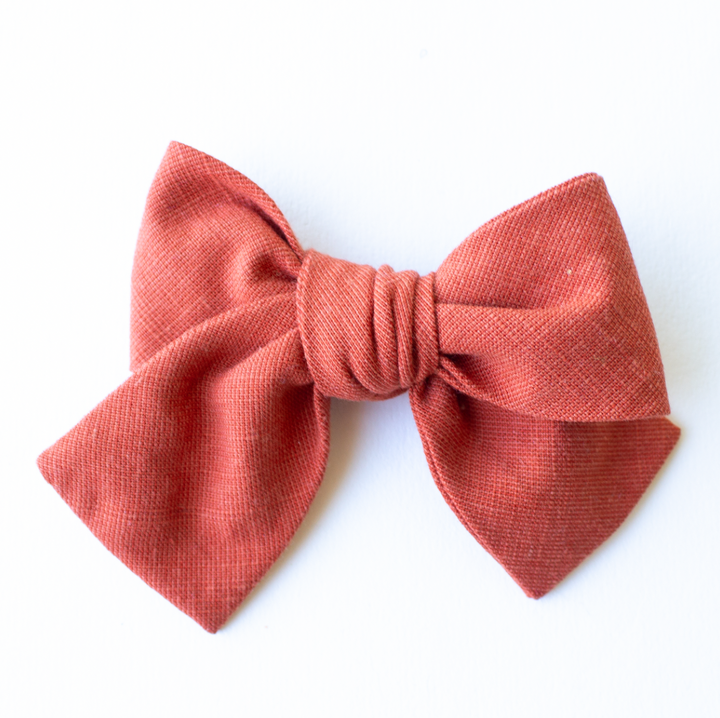 Spiced Linen Hair Bow