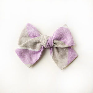 Lilac Prep Hair Bow for Girls