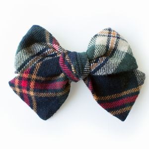 Spruce Plaid Hair Bow for Girls