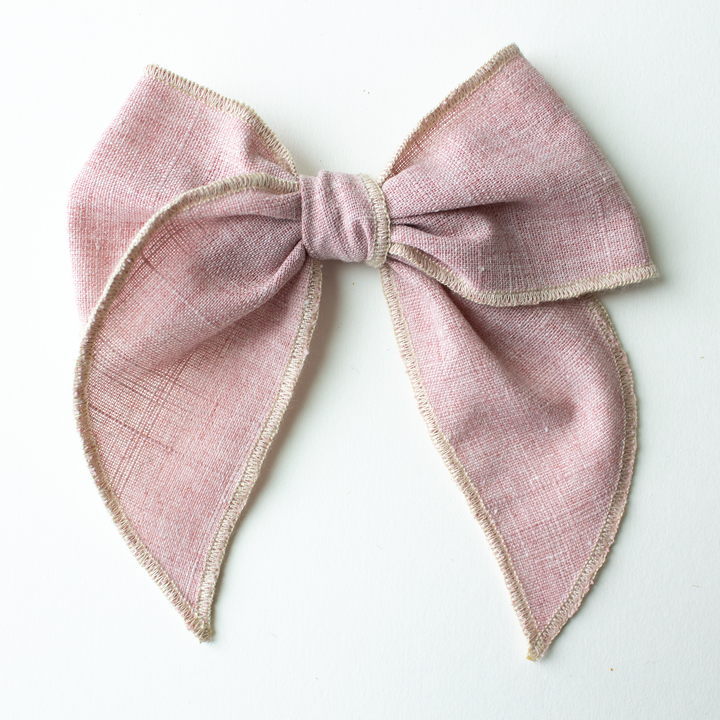 Blushing Linen Hair Bow for Girls - Large