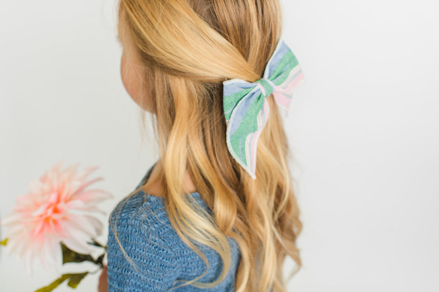 Easter Basket Stripe Hair Bow for Girls - Large Bow
