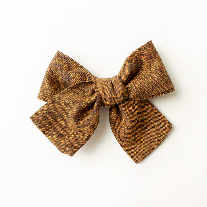 Lucky Penny Linen Hair Bow for Girls