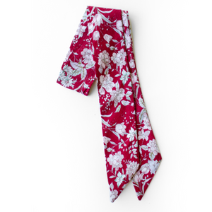 Crimson Floral Everything Bow for Girls & Women - Neck scarf & Hair wrap