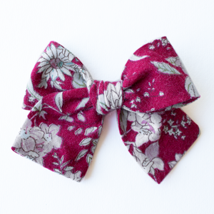 Crimson Floral Hair Bow for Girls