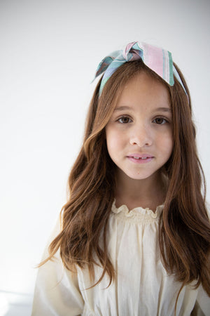 $10 Tuesday Deal- Easter Basket Stripe Everything Bow for Girls & Women - Neck scarf & Hair wrap
