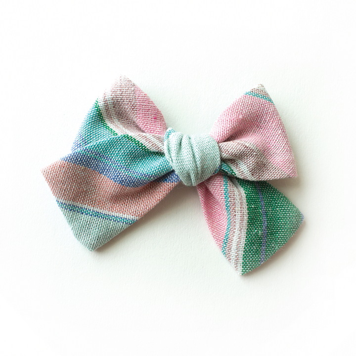 Easter Basket Stripe Hair Bow for Girls