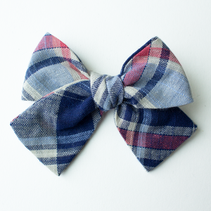 Nantucket Plaid Hair Bow for Girls