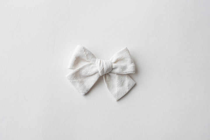 Simply White Hair Bow for Girls