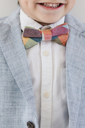 Rubik Cube Plaid Bow Tie for Boys