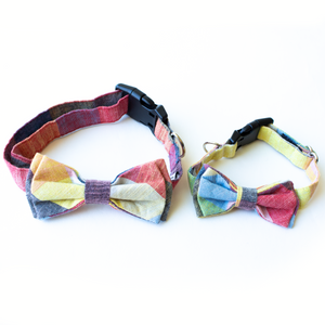 Dog Collar Bow Tie - Rubik Cube Plaid