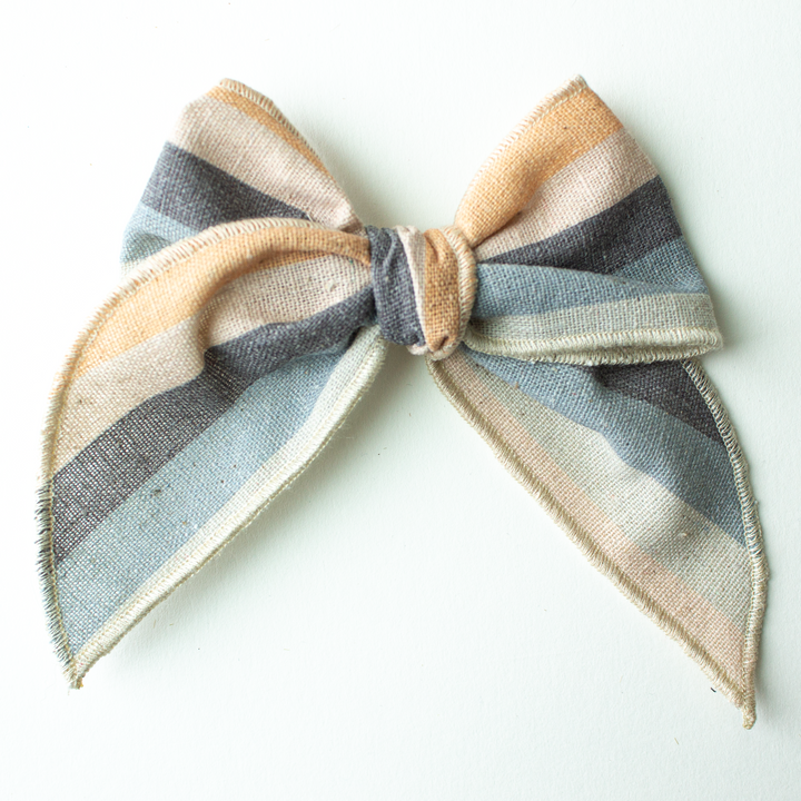 Sandy Stripe Hair Bow for Girls - Large Bow