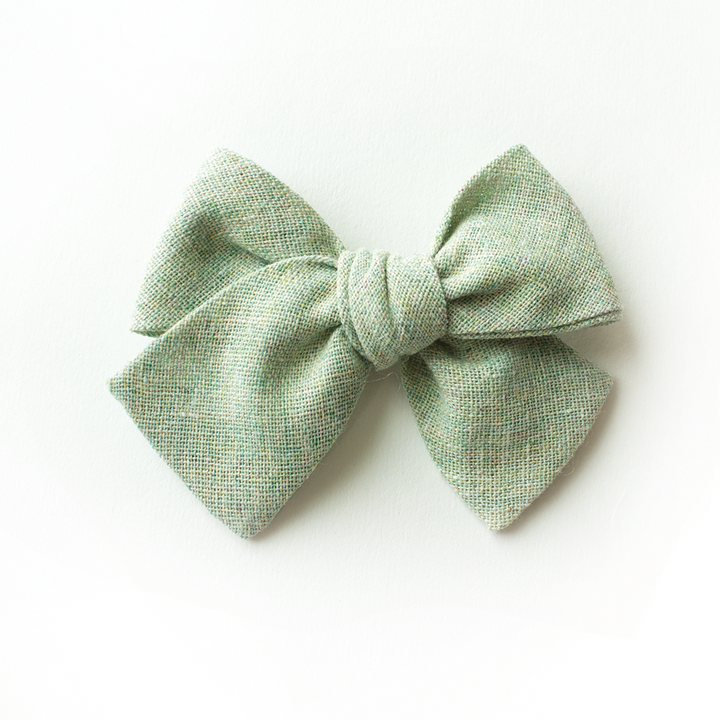 Sea Foam Linen Hair Bow for Girls