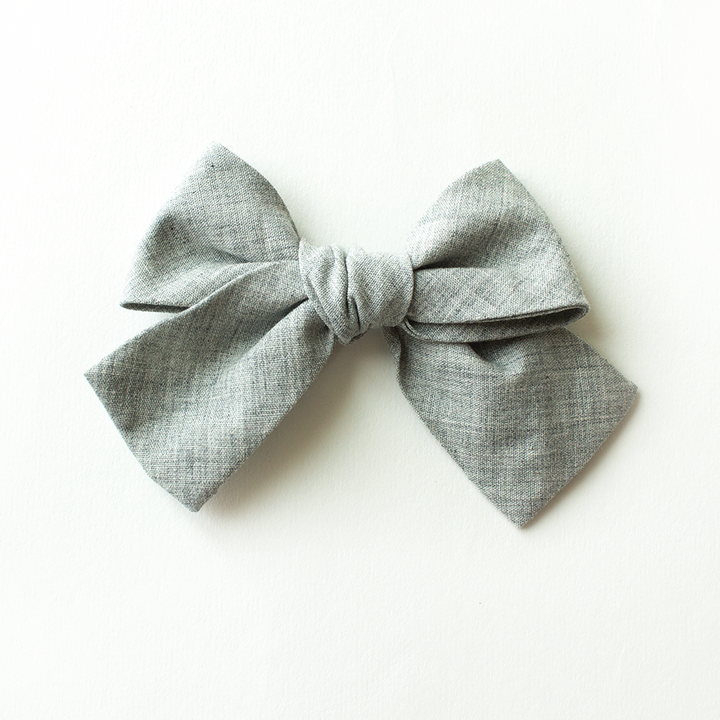 Slate Gray Hair Bow for Girls