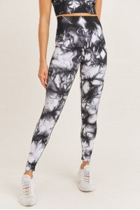 Smokescreen Tie Dye Ribbed Seamless Leggings