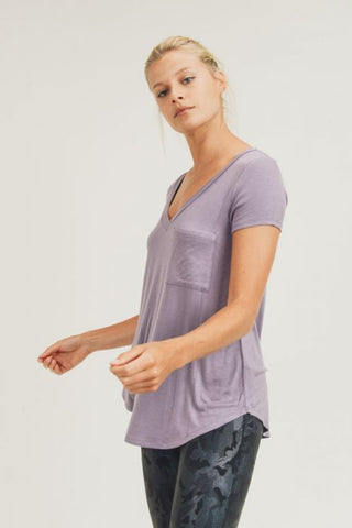 Longline Deep V-Neck Pocket Shirt in Dusty Lilac