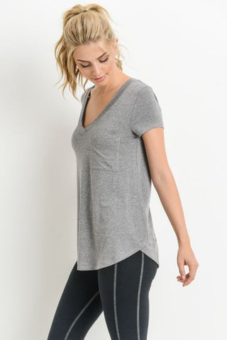 Longline Deep V-Neck Pocket Shirt in Heather Grey