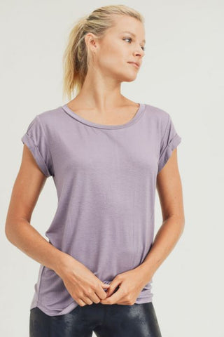 Essential Round Neck Cap Sleeve Shirt in Dusty Lilac