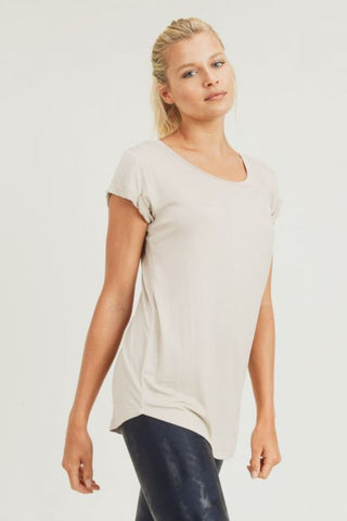 Essential Round Neck Cap Sleeve Shirt in Natural