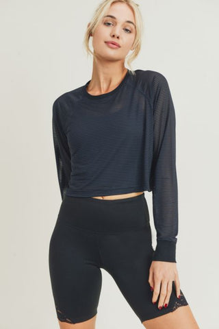 Striped Mesh Raglan Cropped Shirt with Long Sleeves in Black