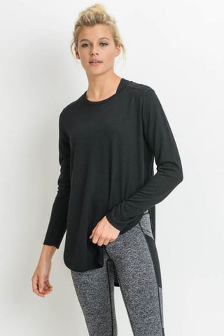 Long Sleeve Flow Top with Side Slits in Black
