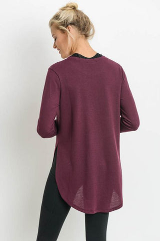 Long Sleeve Flow Top with Side Slits in Burgundy