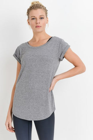 Essential Round Neck Cap Sleeve Shirt in Heather Grey