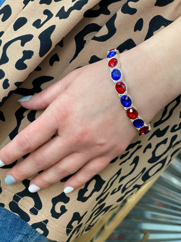 Red and Blue Crystal Stretch Bracelet