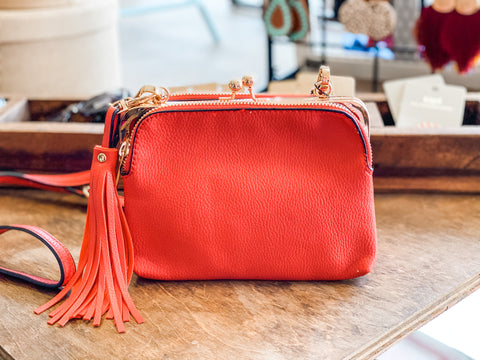 Fiery Red Crossbody Handbag