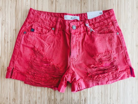 KanCan Hazel Mid Rise Shorts in Red