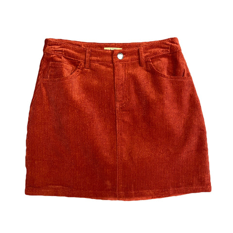 Rust Corduroy Mini Skirt