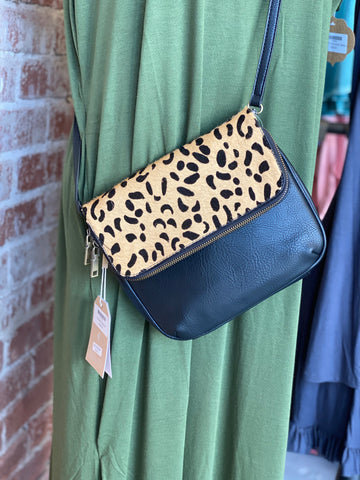 Leopard and Black Satchel